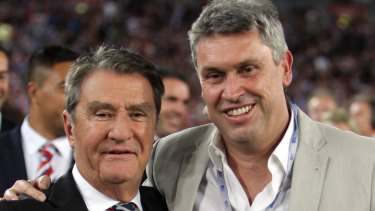 All smiles: Nick Politis and David Gyngell after the 2013 Grand Final.