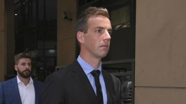 Senior Constable Brad McLeod, after an earlier appearance at Melbourne Magistrates Court.