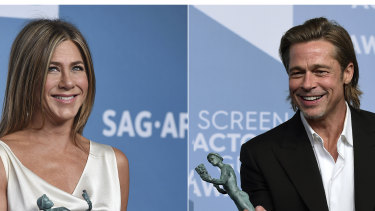 Jennifer Aniston and Brad Pitt at the 2020 SAG Awards held in Los Angeles.