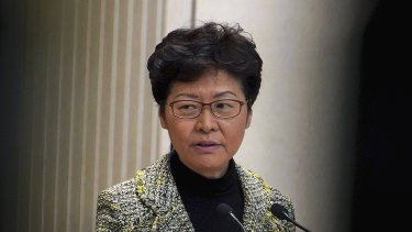 Hong Kong Chief Executive Carrie Lam speaks during a press conference at the government headquarters in Hong Kong on Tuesday.