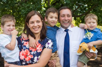 Matthew Guy and his family in 2014.