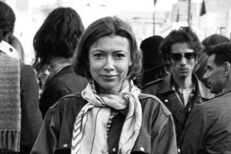 Joan Didion mingles with a crowd of hippies in San Francisco's Golden Gate Park in 1967 while researching her article Slouching Towards Bethlehem.