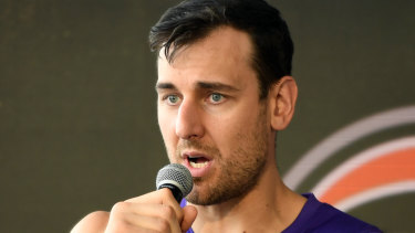 High-profile signing: Andrew Bogut addresses the media at the NBL season launch.