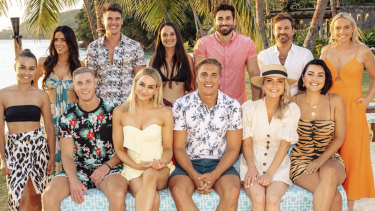 Some of the cast of Bachelor in Paradise 2019. Clockwise from left, Brooke Blurton, Rachael Gouvignon, Bill Goldsmith, Brittney Weldon, Alex Bordyukov, James Trethewie, Cass Wood, Cat Henesey-Smith, Shannon Baff, Nathan Favro, Alisha Aitken-Radburn and Paddy Collier.