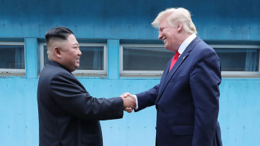 """Kim Jong-un and Donald Trump have met three times since June 2018. Trump has said the two """"fell in love""""."""