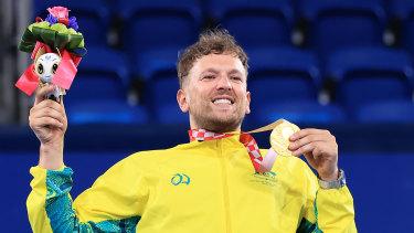 Dylan Alcott after his men's quad singles gold medal in Tokyo.