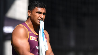 Tevita Pangai at Brisbane Broncos training at Clive Berghofer Field last week.