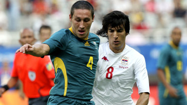 A youthful Mark Milligan (left) at the 2008 Olympics.