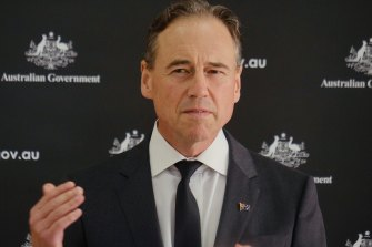 Federal Health Minister Greg Hunt addresses a press conference on the vaccine rollout.