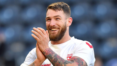 Job done: England's Daryl Clark shows his delight during the series-clinching victory over New Zealand at Anfield.