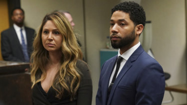 Actor Jussie Smollett appeared in a Chicago court with his attorney, Tina Glandian.