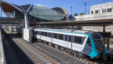 A driverless metro train at the new Tallawong Station in Sydney's north west.