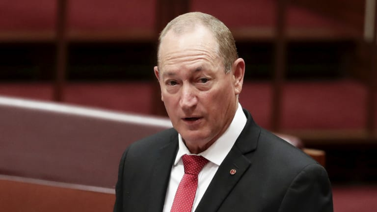 Fraser Anning delivers his first speech in the Senate.