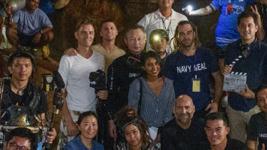 Some of the cast and crew of The Cave, directed by Tom Waller and which will debut on October 5, inside the mouth of Tham Luang cave.