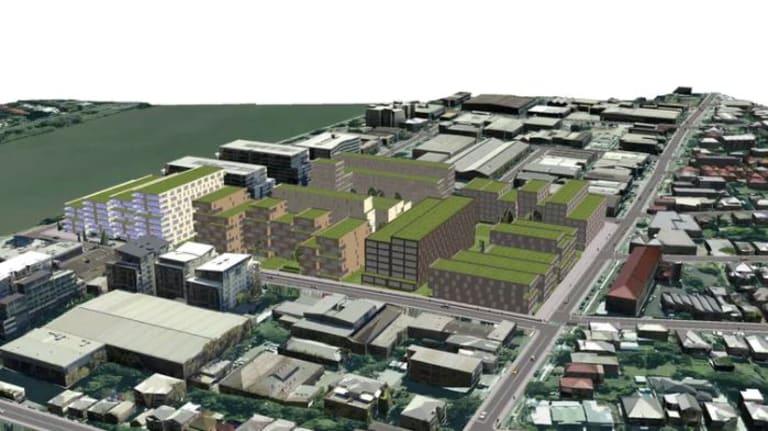 A 3D model of a development scenario in Brisbane's West End produced using ESRI's CityEngine program.