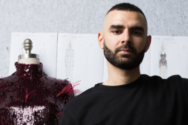 Yousef Akbar is a finalist in the Fashion Laureate New Designer Category, in Sydney. 20th September 2019 Photo: Janie Barrett