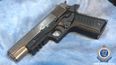 One of the firearms seized by police during raids at Botany and Rockdale in August.