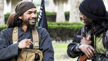 Neil Prakash, left, from a jihadist propaganda video in about 2015.