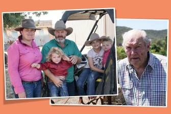 Alinta Energy pursued 80-year-old David White (right), and his family (left) for bankruptcy while bushfires threatened their dairy farm in King Valley in Victoria's High Country. Picture: Ron Ekkel