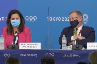 Queensland Premier Annastacia Palaszczuk and AOC president John Coates in Tokyo for the announcement of Brisbane as the host city for the 2032 Olympic Games.