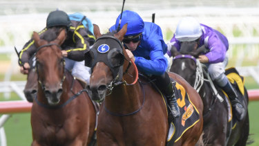 Blue skies: James McDonald rides Microphone to victory in the Skyline Stakes.