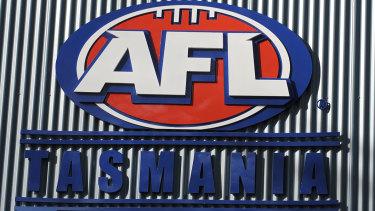Sign of the times: League branding at the Aurora stadium in Launceston.