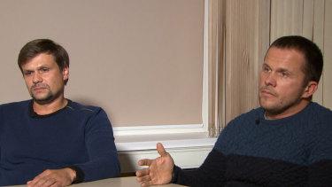 Ruslan Boshirov, left, and Alexander Petrov appear on the Kremlin-backed RT news network.