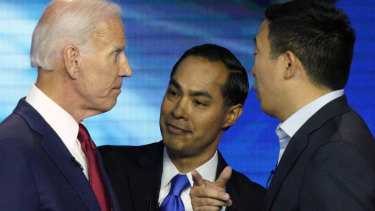 Democratic presidential candidates Joe Biden, Julian Castro and Andrew Yang during the Texas debate.