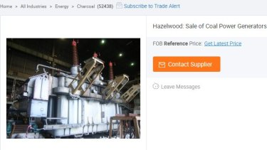 Some of the Hazelwood machinery up for grabs on Alibaba.