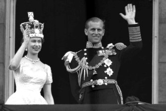 Prince Philip, Duke of Edinburgh, pictured with the Queen at Buckingham Palace, following her coronation in 1953.
