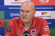 Paul McGregor addresses the media following the Dragon's clash against the Knights in Round 4.