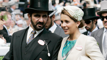 Sheikh Mohammed bin Rashid Al Maktoum, ruler of Dubai with his wife Princess Haya bint al Hussein at the first day of Royal Ascot Races in 2007.