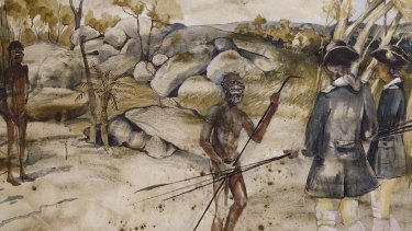 Artwork by Jane Dennis depicts the meeting at Reconciliation Rocks between Captain James Cook and the Guugu Yimidhirr people.