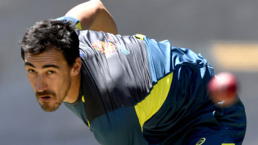 Balancing aggression and respect: Mitchell Starc in the nets during an Australian team training session at Adelaide Oval.