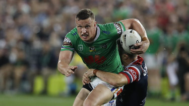 Jack Wighton takes a tackle in the most talked about moment of the grand final.