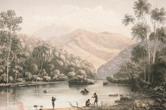 Aboriginal life near Upper Mitta Mitta, with Bogong Ranges in the background, in the mid-1800s, as depicted by the lithographer George Appleton.