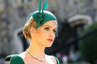 Lady Kitty Spencer, pictured at the wedding of Prince Harry and Meghan, has traded on the royal brand by endorsing Chinese milk.