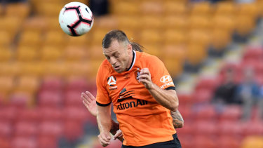 Avram Papadopoulos of the Roar in action during the round 1 A-League match at Suncorp Stadium on Sunday.