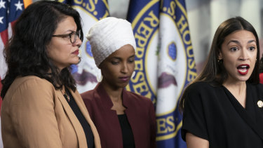 US congresswomen Rashida Tlaib, left, with Ilhan Omar and Alexandria Ocasio-Cortez.