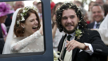 Harington and Rose Leslie on their wedding day in Scotland in June 2018.