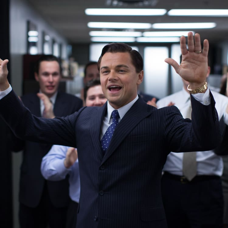 Leonardo DiCaprio in The Wolf of Wall Street, playing corrupt US stockbroker Jordan Belfort.