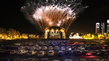 An artist's impression of what the drive-in concerts, kicking off on Thursday, could look like.