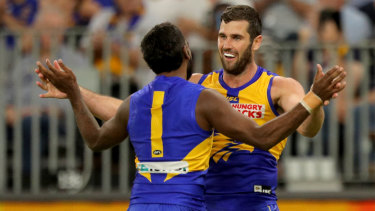 Jack Darling (right) celebrates with Liam Ryan, who was subject to racist abuse online during the week.