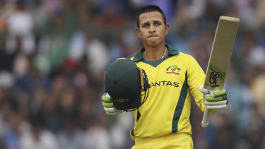 Usman Khawaja celebrates scoring a century during the final ODI against India in New Delhi in March.
