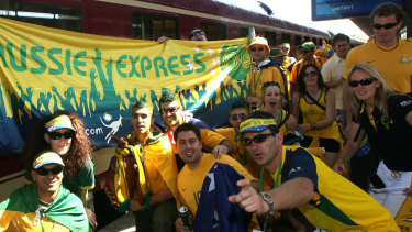 Thousands of Aussie fans arrive from Frankfurt by train to the station before Australia's Word Cup game with Japan in  Kaiserslautern, Germany.