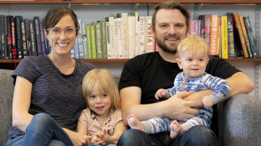 Bonnie Savage and Tim Beveridge, with children Harrison and Thomas.