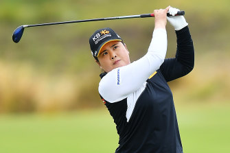Inbee Park hits her second on the 17th hole during day three of the Women's Australian Open.