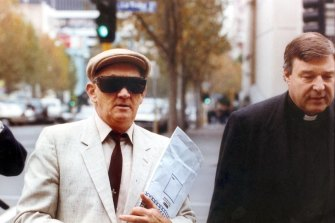 George Pell accompanies paedophile priest Gerald Ridsdale to court in Warrnambool in 1993.