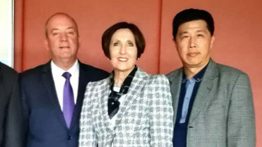 Then-MP Daryl Maguire, Louise Raedler Waterhouse and Ho Yuen Li.