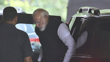 Indian Prime Minister Narendra Modi arrives at Parliament House on Monday.